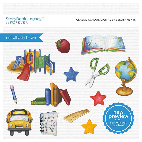 Classic School Digital Embellishments Digital Art - Digital Scrapbooking Kits