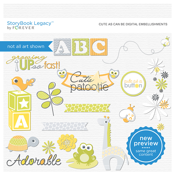 Cute As Can Be Digital Embellishments Digital Art - Digital Scrapbooking Kits