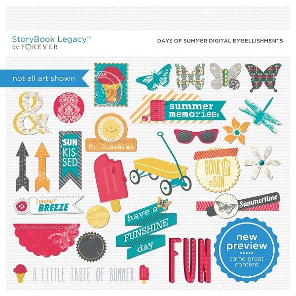 Days Of Summer Digital Embellishments Digital Art - Digital Scrapbooking Kits