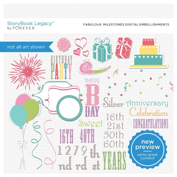 Fabulous Milestones Digital Embellishments Digital Art - Digital Scrapbooking Kits