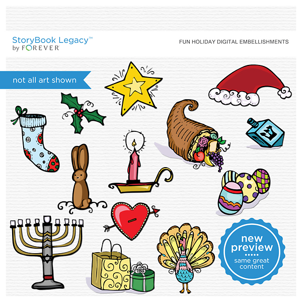 Fun Holiday Digital Embellishments Digital Art - Digital Scrapbooking Kits