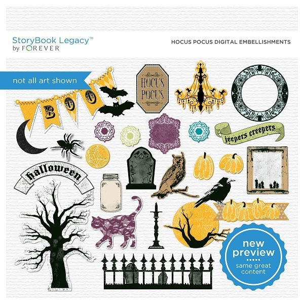 Hocus Pocus Digital Embellishments Digital Art - Digital Scrapbooking Kits