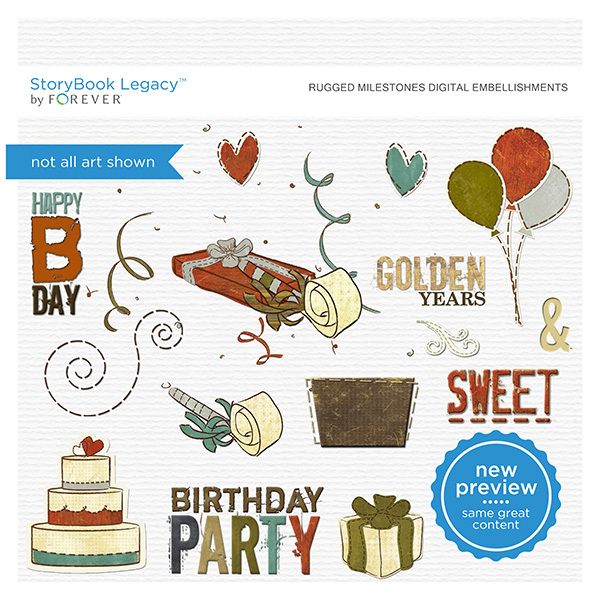 Rugged Milestones Digital Embellishments Digital Art - Digital Scrapbooking Kits