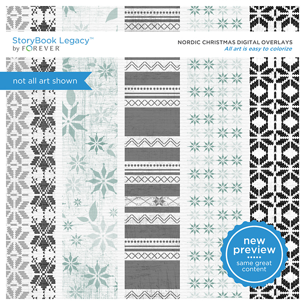 Nordic Christmas Digital Overlays Digital Art - Digital Scrapbooking Kits