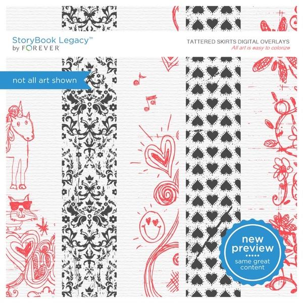 Tattered Skirts Digital Overlays Digital Art - Digital Scrapbooking Kits