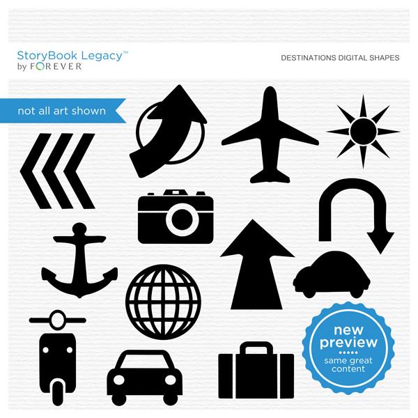 Destination Digital Shapes Digital Art - Digital Scrapbooking Kits