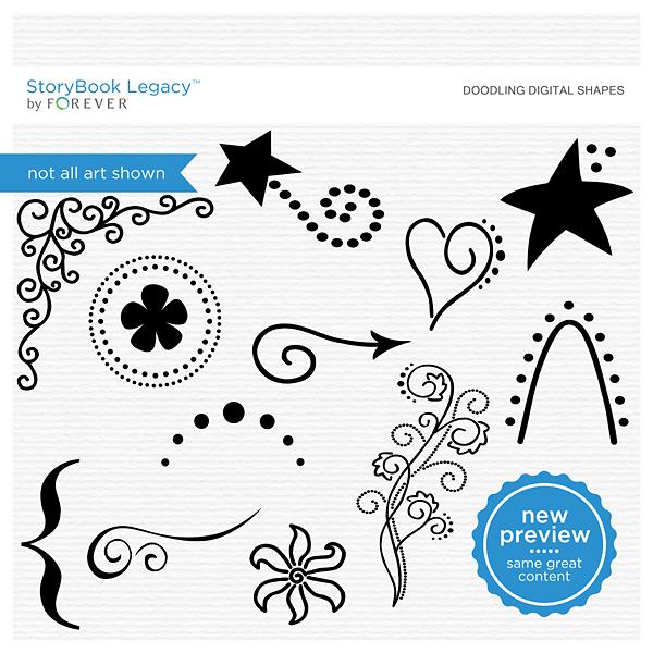 Doodling Digital Shapes Digital Art - Digital Scrapbooking Kits