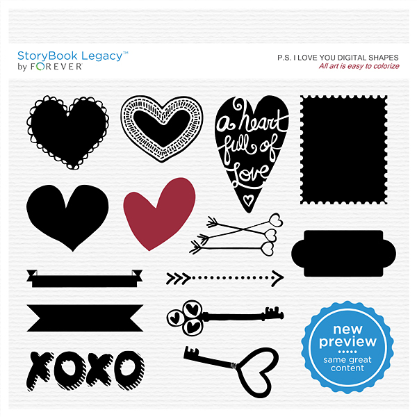 P.S. I Love You Digital Shapes Digital Art - Digital Scrapbooking Kits