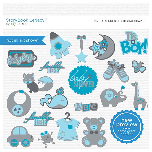 Tiny Treasures Boy Digital Shapes Digital Art - Digital Scrapbooking Kits