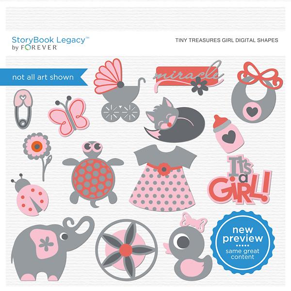 Tiny Treasures Girl Digital Shapes Digital Art - Digital Scrapbooking Kits
