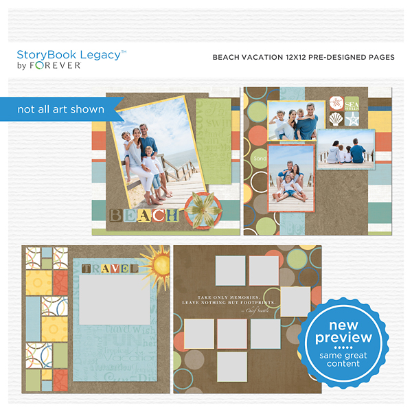 Beach Vacation 12x12 Predesigned Pages Digital Art - Digital Scrapbooking Kits