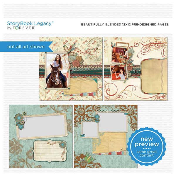 Beautifully Blended 12x12 Predesigned Pages Digital Art - Digital Scrapbooking Kits