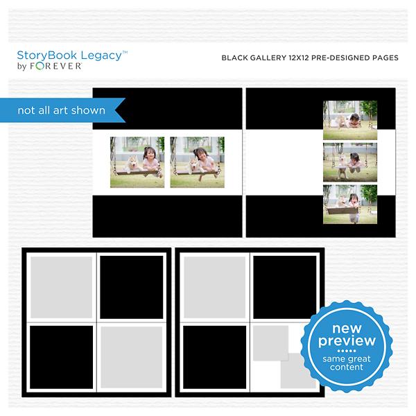 Black Gallery 12x12 Predesigned Pages Digital Art - Digital Scrapbooking Kits