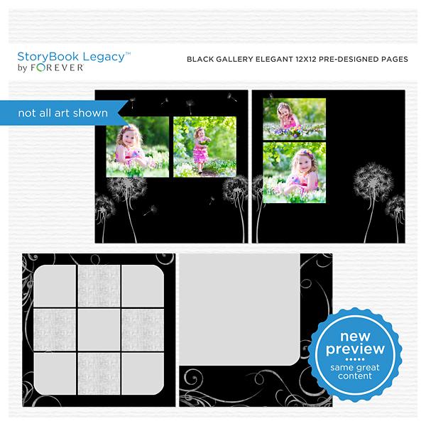 Black Gallery Elegant 12x12 Predesigned Pages Digital Art - Digital Scrapbooking Kits