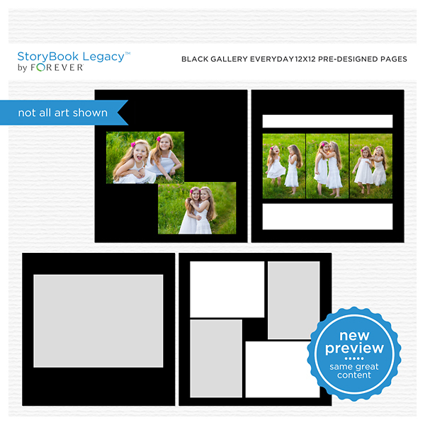 Black Gallery Everyday 12x12 Predesigned Pages Digital Art - Digital Scrapbooking Kits