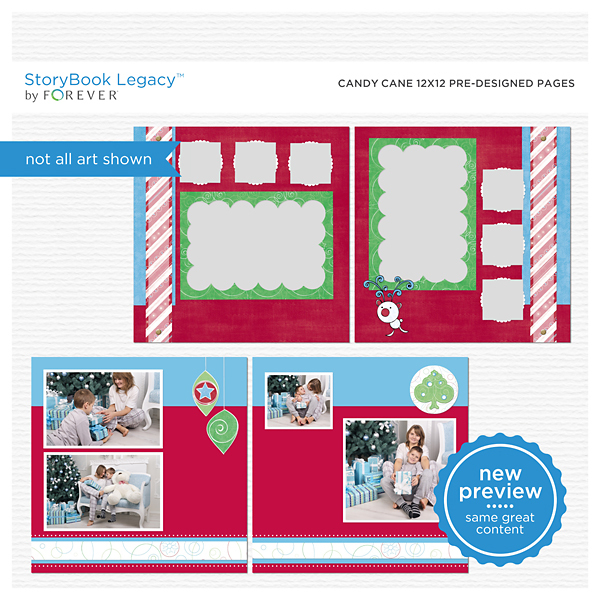 Candy Cane 12x12 Predesigned Pages Digital Art - Digital Scrapbooking Kits