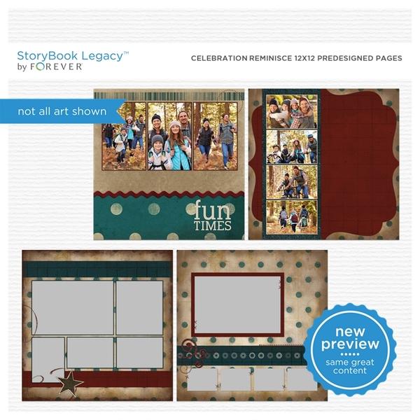 Celebration Reminisce 12x12 Predesigned Pages Digital Art - Digital Scrapbooking Kits
