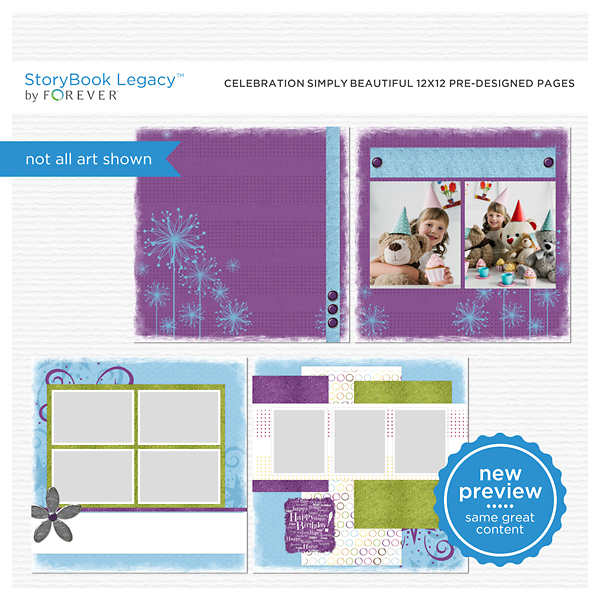 Celebration Simply Beautiful 12x12 Predesigned Pages Digital Art - Digital Scrapbooking Kits