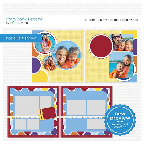 Cheerful 12x12 Predesigned Pages Digital Art - Digital Scrapbooking Kits