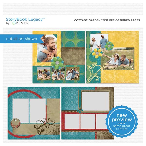 Cottage Garden 12x12 Predesigned Pages Digital Art - Digital Scrapbooking Kits