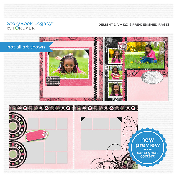 Delight Diva 12x12 Predesigned Pages Digital Art - Digital Scrapbooking Kits