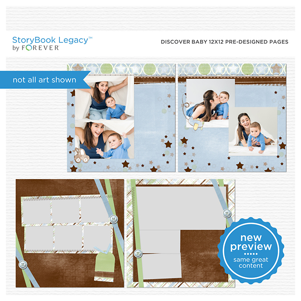 Discover Baby 12x12 Predesigned Pages Digital Art - Digital Scrapbooking Kits