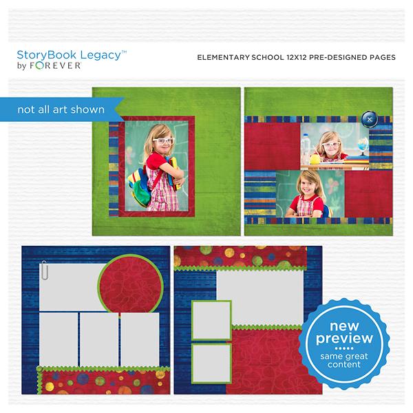 Elementary School 12x12 Predesigned Pages Digital Art - Digital Scrapbooking Kits