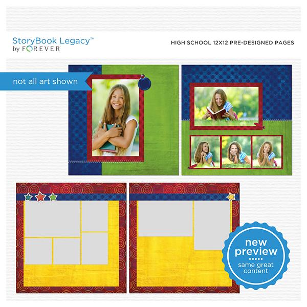 High School 12x12 Predesigned Pages Digital Art - Digital Scrapbooking Kits