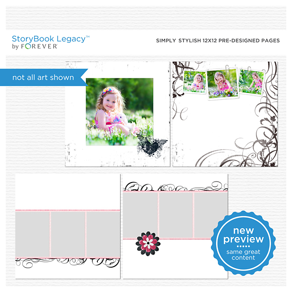 Simply Stylish 12x12 Predesigned Pages Digital Art - Digital Scrapbooking Kits