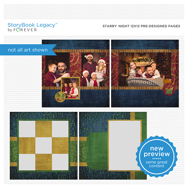 Starry Night 12x12 Predesigned Pages Digital Art - Digital Scrapbooking Kits