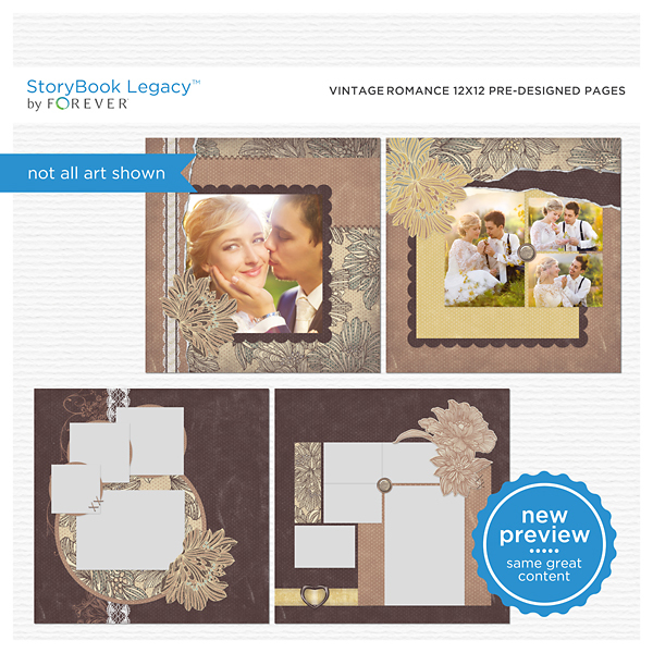 Vintage Romance 12x12 Predesigned Pages Digital Art - Digital Scrapbooking Kits