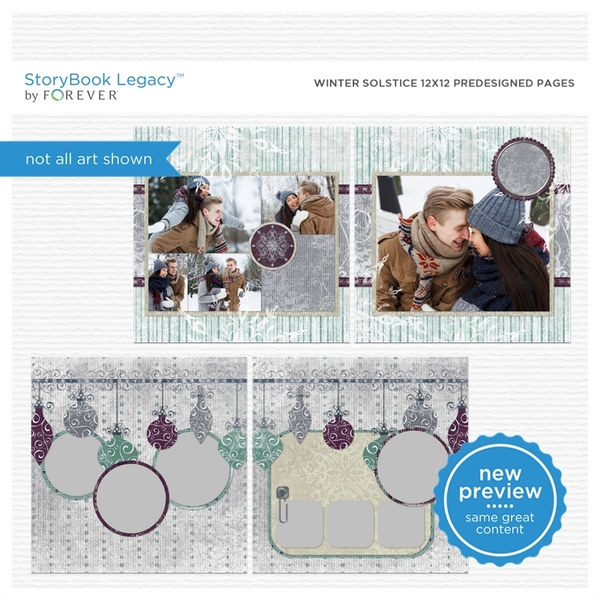 Winter Solstice 12x12 Predesigned Pages Digital Art - Digital Scrapbooking Kits