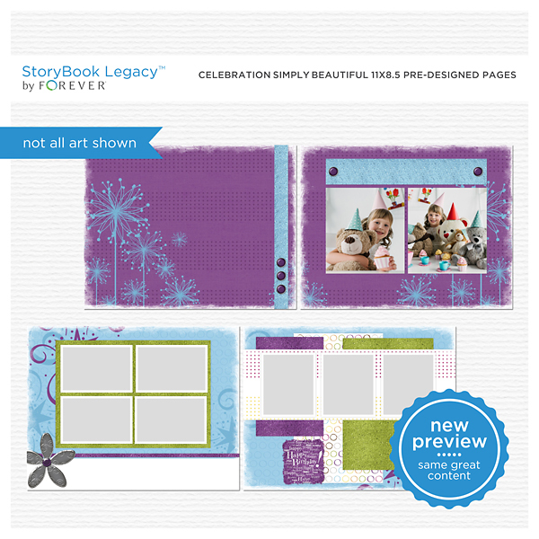 Celebration Simply Beautiful 11x8.5 Predesigned Pages Digital Art - Digital Scrapbooking Kits