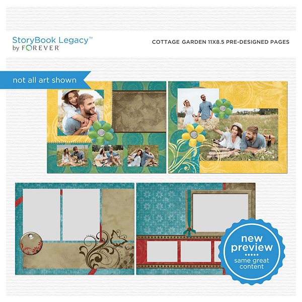 Cottage Garden 11x8.5 Predesigned Pages Digital Art - Digital Scrapbooking Kits
