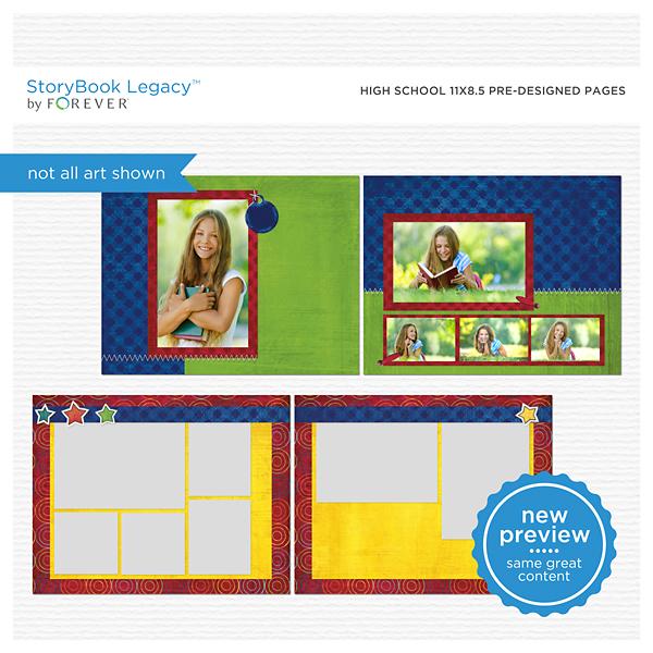 High School 11x8.5 Predesigned Pages Digital Art - Digital Scrapbooking Kits