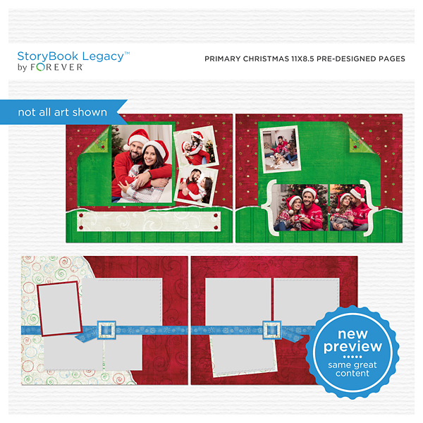 Primary Christmas 11x8.5 Predesigned Pages Digital Art - Digital Scrapbooking Kits