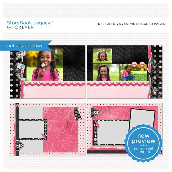 Delight Diva 7x5 Predesigned Pages Digital Art - Digital Scrapbooking Kits