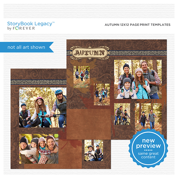 Autumn 12x12 Page Print Templates Digital Art - Digital Scrapbooking Kits