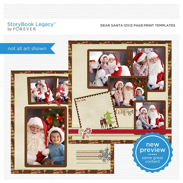 Dear Santa 12x12 Page Print Templates Digital Art - Digital Scrapbooking Kits