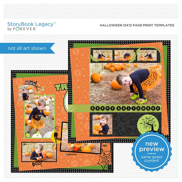 Halloween 12x12 Page Print Templates Digital Art - Digital Scrapbooking Kits