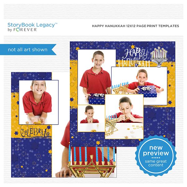 Happy Hanukkah 12x12 Page Print Templates Digital Art - Digital Scrapbooking Kits