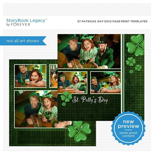St Patricks Day 12x12 Page Print Templates Digital Art - Digital Scrapbooking Kits