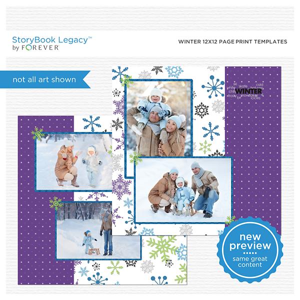 Winter 12x12 Page Print Templates Digital Art - Digital Scrapbooking Kits