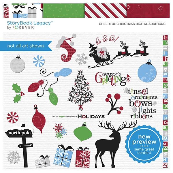 Cheerful Christmas Digital Additions Digital Art - Digital Scrapbooking Kits