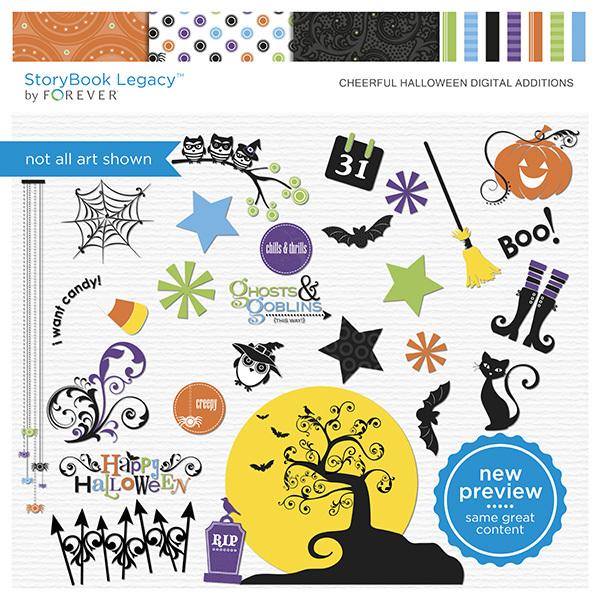 Cheerful Halloween Digital Additions Digital Art - Digital Scrapbooking Kits