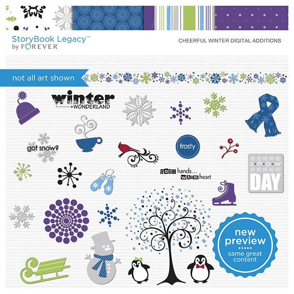 Cheerful Winter Digital Additions Digital Art - Digital Scrapbooking Kits