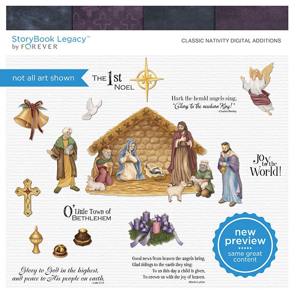 Classic Nativity Digital Additions Digital Art - Digital Scrapbooking Kits