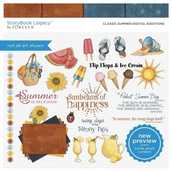 Classic Summer Digital Additions Digital Art - Digital Scrapbooking Kits