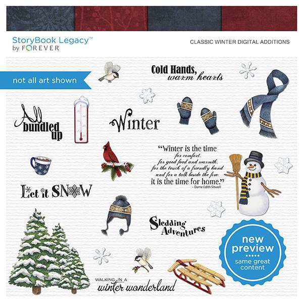 Classic Winter Digital Additions Digital Art - Digital Scrapbooking Kits