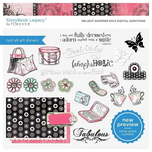 Delight Shopper Diva Digital Additions Digital Art - Digital Scrapbooking Kits